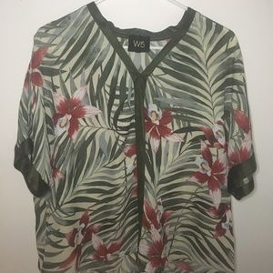 W5 Anthropologie Tropical Floral Flowy Top Blouse